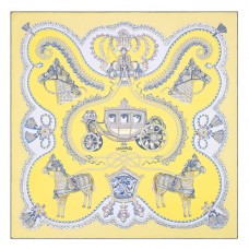 Hermes Jaune Paperoles Silk Twill Scarf