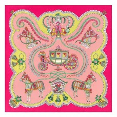 Hermes Vieux Rose Paperoles Silk Twill Scarf