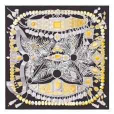 Hermes Black Parures Precieuses Silk Shawl