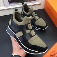 Hermes Men Kaki/Noir Player Sneakers