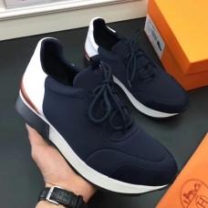 Hermes Men Navy Blue Miles Sneakers