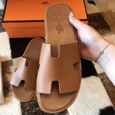 Hermes Izmir Sandals In Brown Epsom Leather