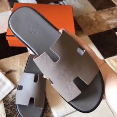 Hermes Izmir Sandals In Grey Epsom Leather