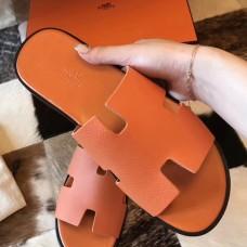 Hermes Izmir Sandals In Orange Epsom Leather