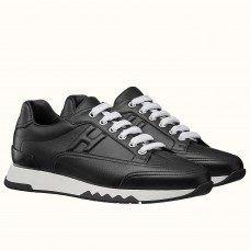 Hermes Trail Sneaker In Black Calfskin Leather