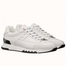 Hermes Trail Sneaker In White Calfskin Leather