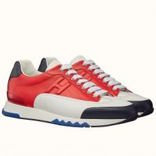Hermes Trail Sneaker In Red/White Calfskin