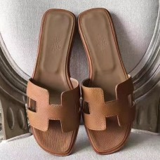 Hermes Oran Sandals In Brown Epsom Leather