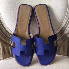 Hermes Oran Sandals In Blue Epsom Leather
