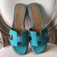 Hermes Oran Sandals In Lagon Epsom Leather