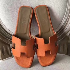 Hermes Oran Sandals In Orange Epsom Leather
