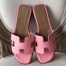 Hermes Oran Sandals In Pink Epsom Leather