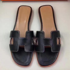Hermes Oran Sandals In Black Swift Leather