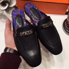 Hermes Oz Mule In Black Calfskin Leather