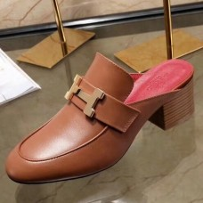 Hermes Paradis Mule In Camarel Calfskin Leather