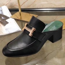 Hermes Paradis Mule In Black Calfskin Leather