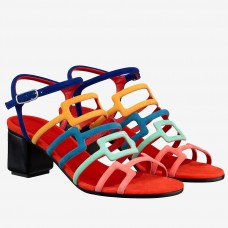 Hermes Oracle Sandals In Multicolour Suede Leather