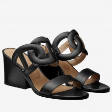 Hermes Black Peace Sandals