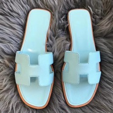 Hermes Oran Sandals In Blue Atoll Epsom Leather