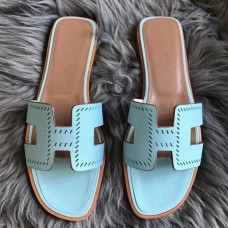 Hermes Oran Perforated Sandals In Blue Atoll Epsom Leather
