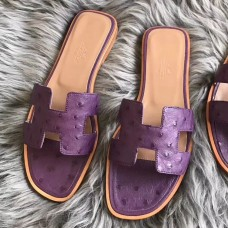 Hermes Oran Sandals In Purple Ostrich Leather
