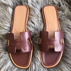 Hermes Oran Sandals In Bordeaux Swift Leather