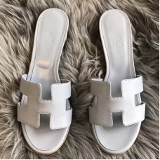 Hermes Oasis Sandals In Blue Pale Epsom Leather