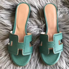 Hermes Oran Perforated Sandals In Malachite Epsom Leather