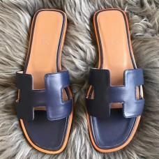 Hermes Oran Sandals In Navy Swift Leather