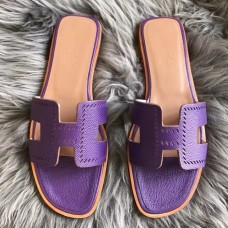 Hermes Oran Perforated Sandals In Purple Epsom Leather