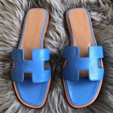 Hermes Oran Sandals In Blue Swift Leather