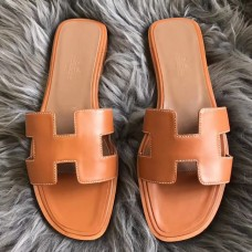 Hermes Oran Sandals In Brown Swift Leather