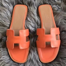 Hermes Oran Sandals In Orange Swift Leather
