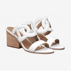 Hermes White Peace Sandals