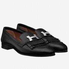 Hermes Royal Loafers In Black Calfskin