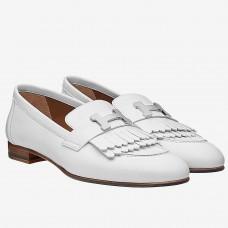 Hermes Royal Loafers In White Calfskin