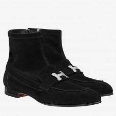 Hermes Black Saint Honore Ankle Boots