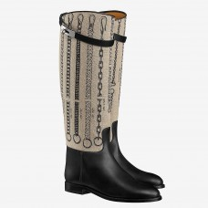 Hermes Jumping Boots In De Camp Dechainee Toile