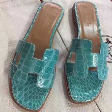 Hermes Lagon Crocodile Oran Sandals