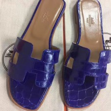 Hermes Blue Crocodile Oran Sandals