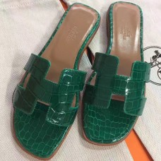 Hermes Green Crocodile Oran Sandals