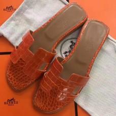 Hermes Orange Crocodile Oran Sandals