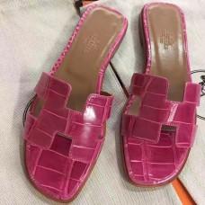 Hermes Rose Red Crocodile Oran Sandals