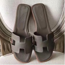 Hermes Oran Sandals In Etoupe Epsom Leather