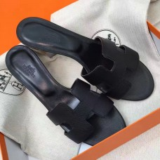 Hermes Black Epsom Oasis Sandals
