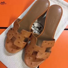 Hermes Brown Ostrich Oasis Sandals