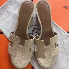 Hermes White Ostrich Oasis Sandals