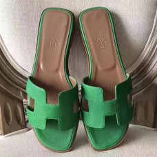 Hermes Oran Sandals In Bamboo Epsom Leather