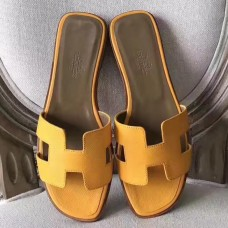 Hermes Oran Sandals In Jaune Epsom Leather