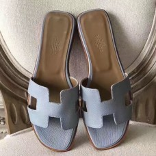 Hermes Oran Sandals In Blue Lin Epsom Leather